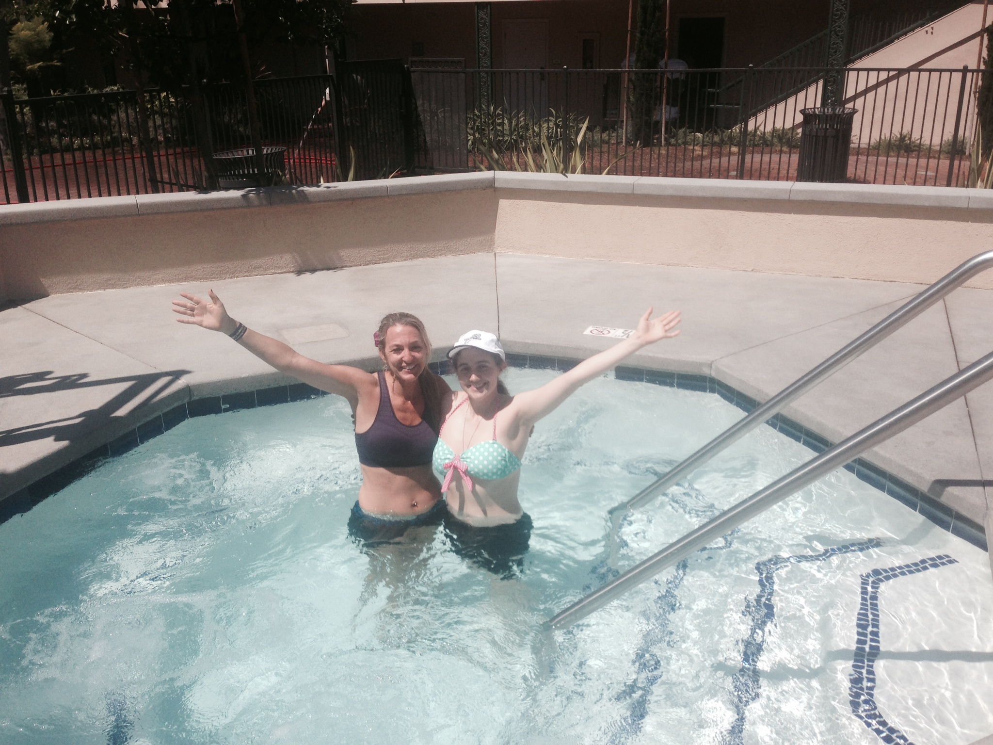 Carolina and I in the Jacuzzi recovering and celebrating.  She ran a PR 1:51 half.  Soon I will be able to keep up with her again.  So proud of her!!  She is a total Rock Star!